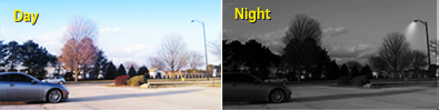 day and night views with surveillance cameras