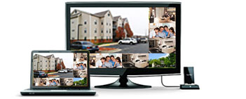 see 4 outdoor surveillance once at a screen