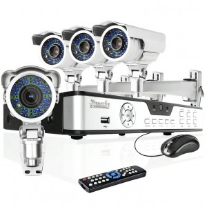 4CH Full D1 DVR Video Audio Surveillance System with 500GB and 4 Sony CCD Weatherproof IR Cameras