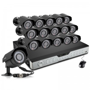 16CH CCTV Business Security System with 16 600TVL Outdoor Night Vision Cameras & 1TB HDD