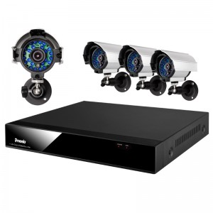 4CH H.264 Full D1 DVR with 1TB HDD & 4 Sony CCD 420TVL 65ft IR Weatherproof Security Cameras