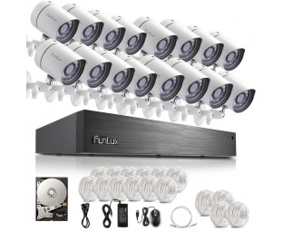 Funlux 16 Channel 720P sPoE NVR System with 16 sPoE HD Indoor Outdoor IP Cameras and 2TB HDD