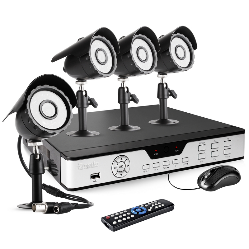 CCTV 4CH H.264 D1 Security DVR Security Camera System with 4 Night Vision Cameras
