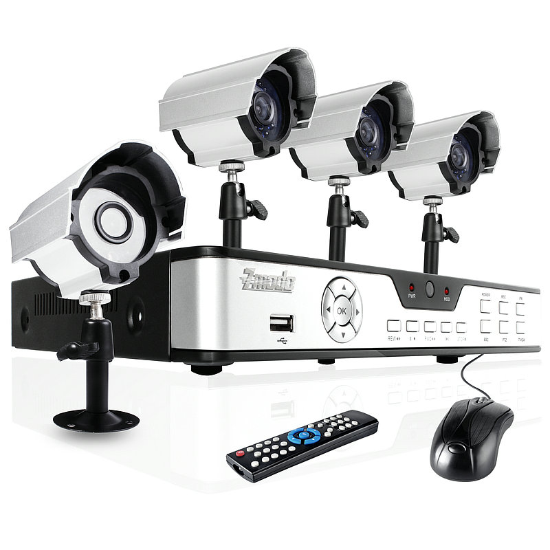 4 Sony CCD 65ft Night Vision Indoor Outdoor Home Surveillance System