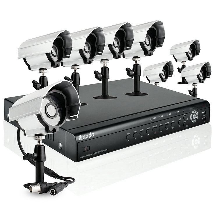 16CH CCTV Outdoor Video Surveillance System with 1TB HD & 8 Day Night Bullet Security Cameras
