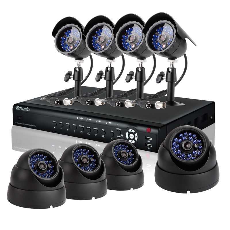 16CH CCTV Outdoor Security System with 1TB HD & 4 Bullet + 4 Dome Sony CCD Security Cameras