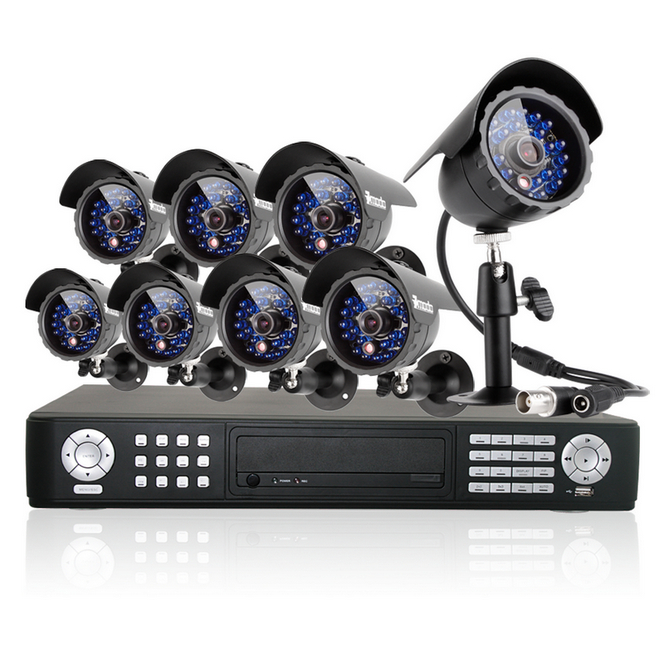 16CH DVR CCTV Surveillance System with 8 Sony CCD Night Vision Cameras