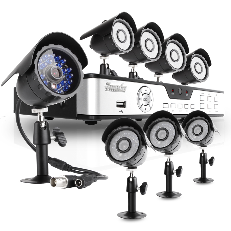 8CH CCTV Surveillance System with 8 Sony CCD 65ft Night Vision Cameras
