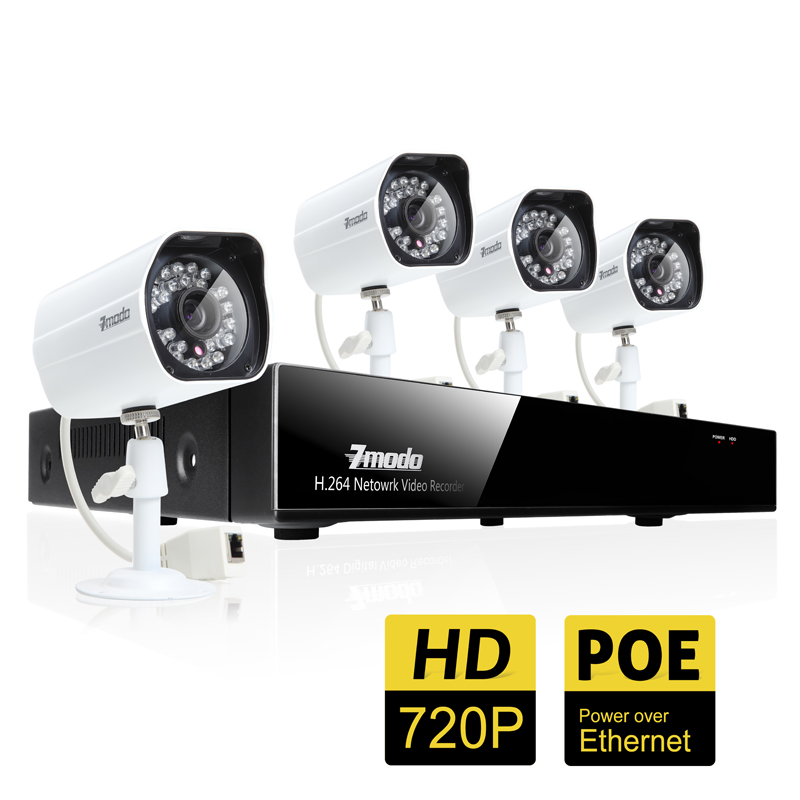 ZMODO 4 Channel Full HD PoE NVR Security Surveillance System with 4 HD 720P Security Cameras