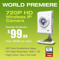 CCTV 720P HD Wireless WiFi IP Video Camera with QR Code Scan and View