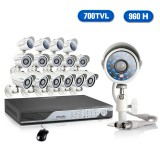 16CH H.264 960H 30FPS Real-Time DVR & 16 700TVL Weatherproof Night Vision Security Cameras with 2TB HDD-Mac Compatible